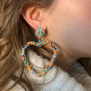 Jewelry - Multicolor Beaded Heart Earrings, NWT